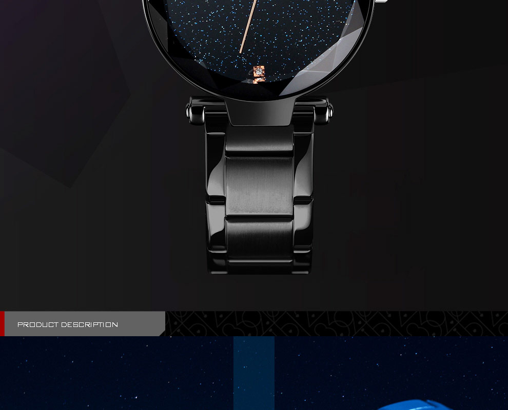 Starry Sky Dial Stainless Steel Band Elegant Analog