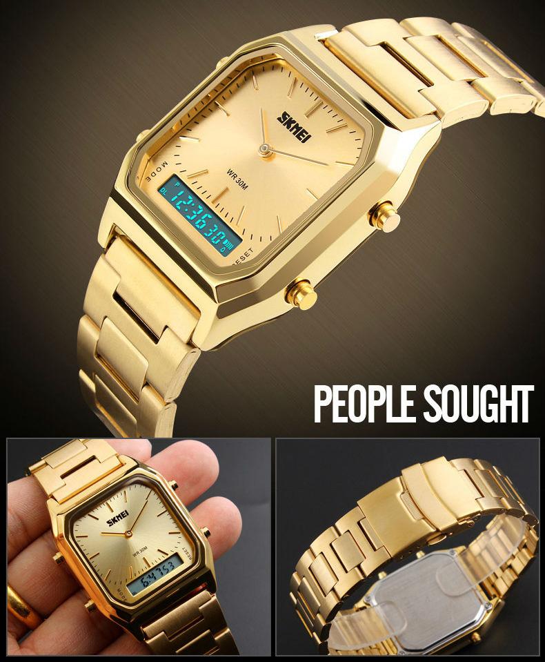 Men's Digital Dual Time Chronograph Luxury Quartz Watches