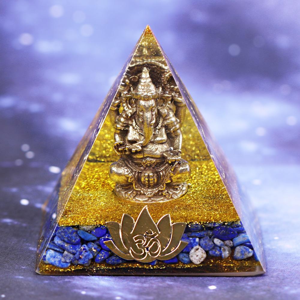 Orgonite Pyramid Copper Ganesha Buddha Figurine Ornaments