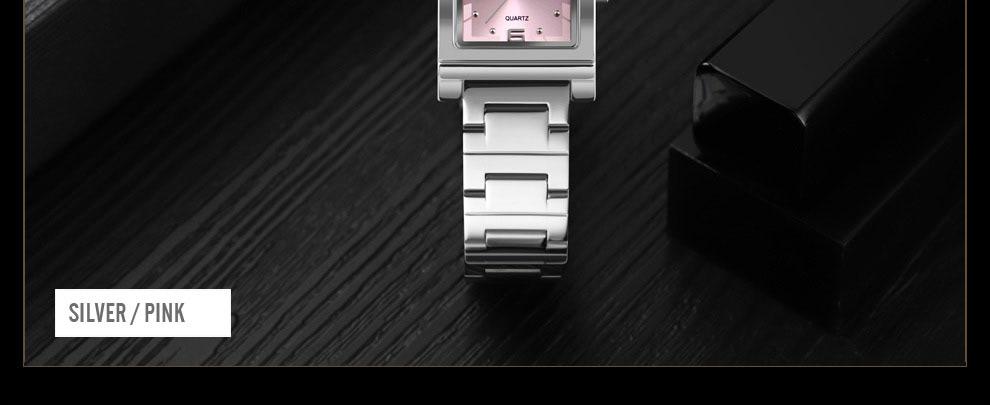 Elegant Women Square Quartz Stainless Steel Bracelet