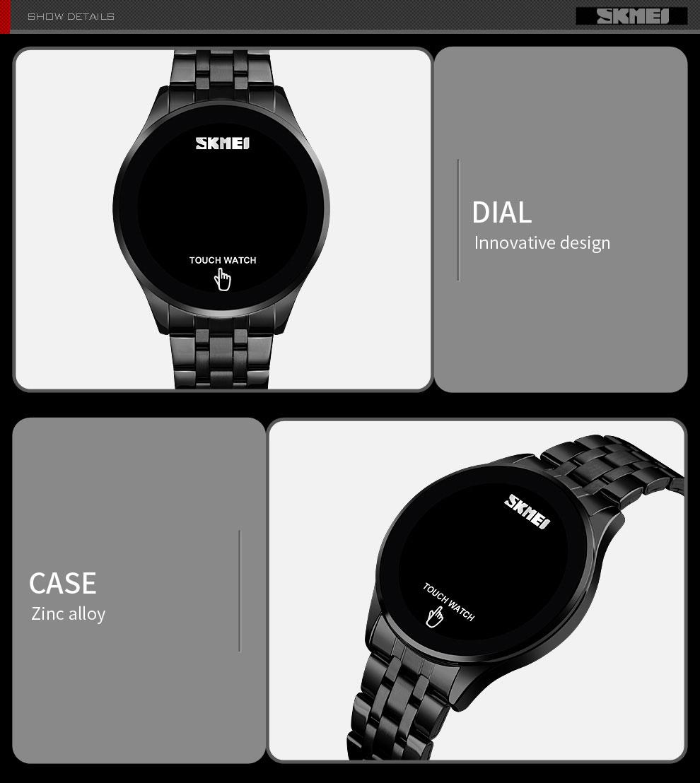 Touch Screen LED Digital Luxury Stainless Steel Men Black
