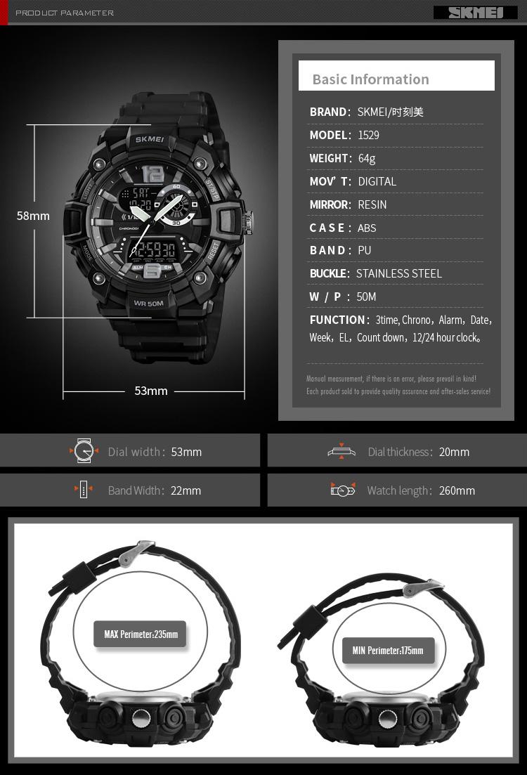 Men's Multi-Function Digital Dual Display Quartz Analog