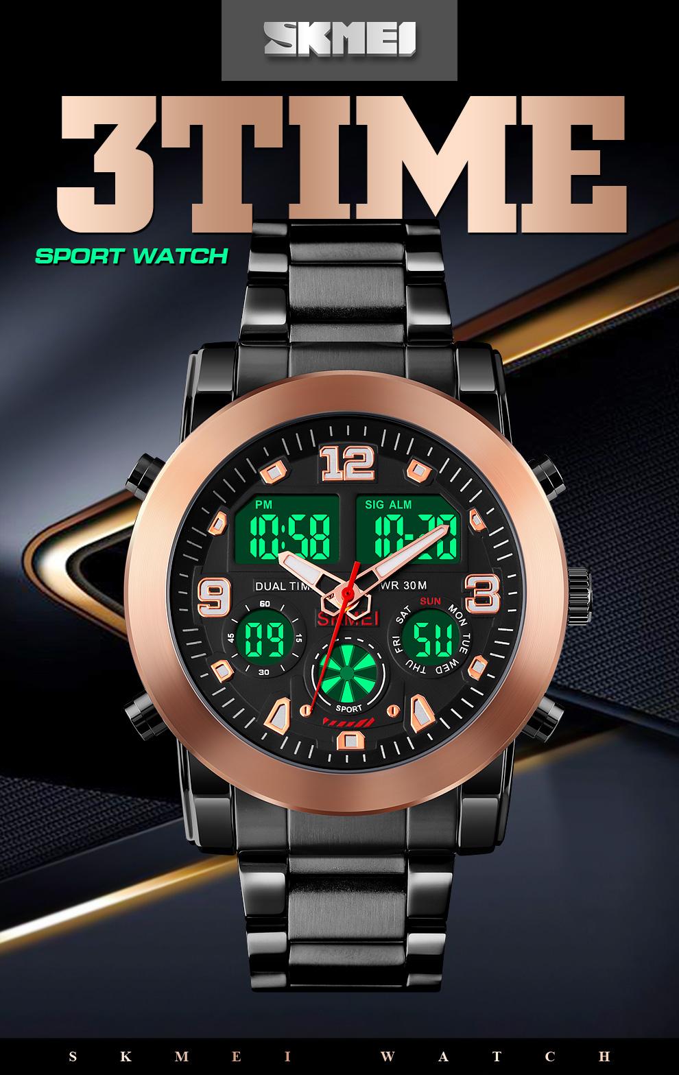 Men's LED Dual Display Wristwatch Big Dial Quartz Waterproof