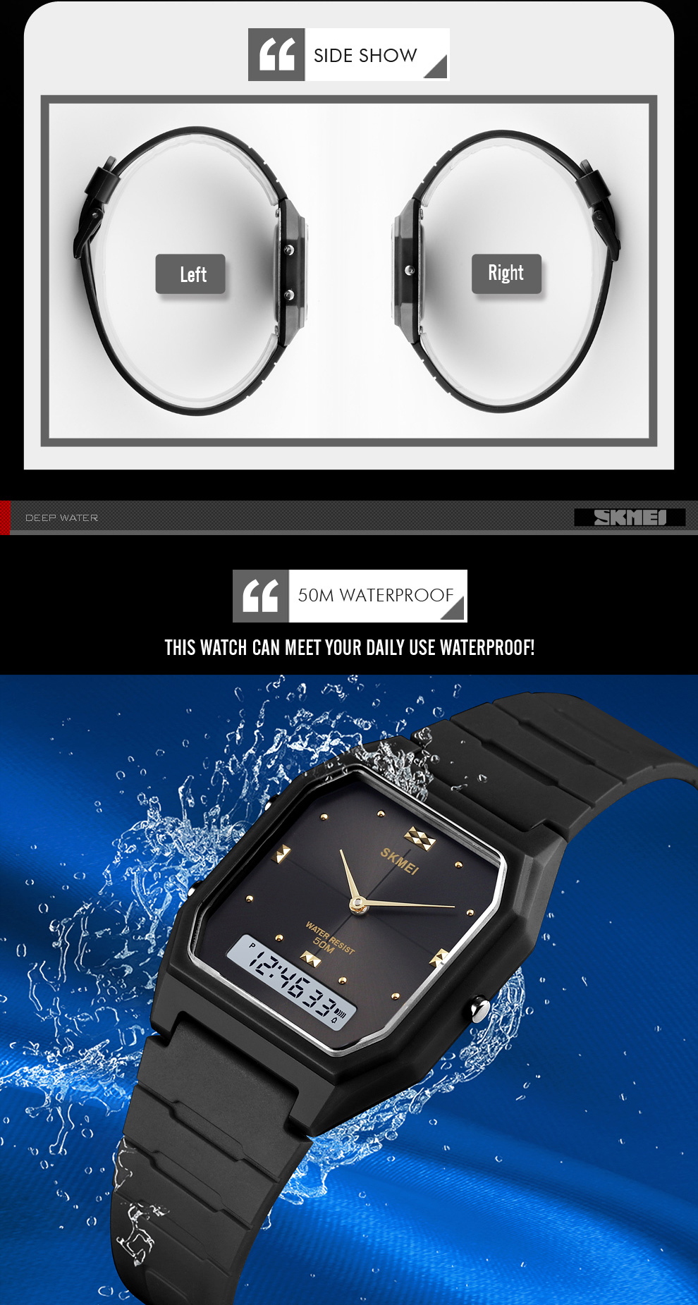 Men's LED Quartz Electronic Waterproof Digital Sports