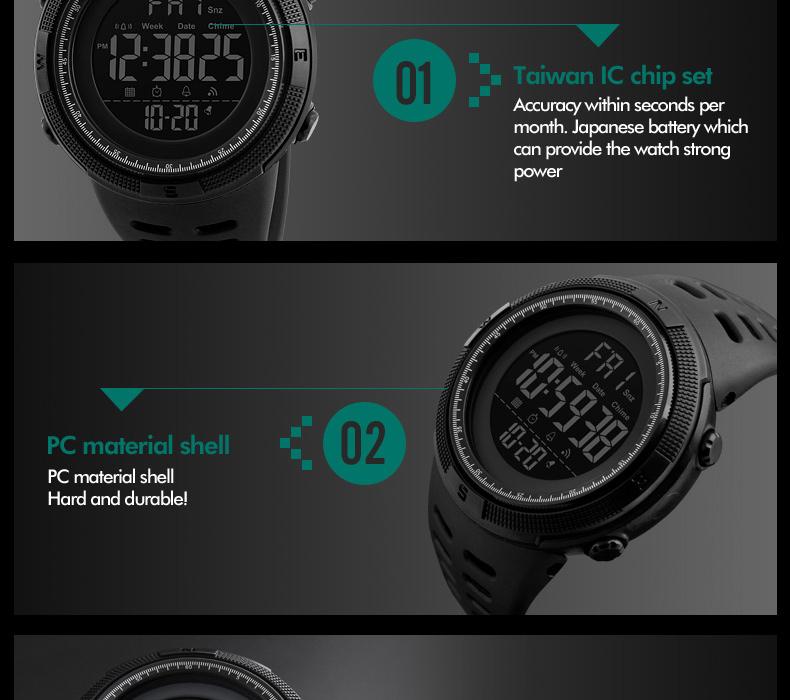 Men's Multi-functional Waterproof Alarm Chrono Digital