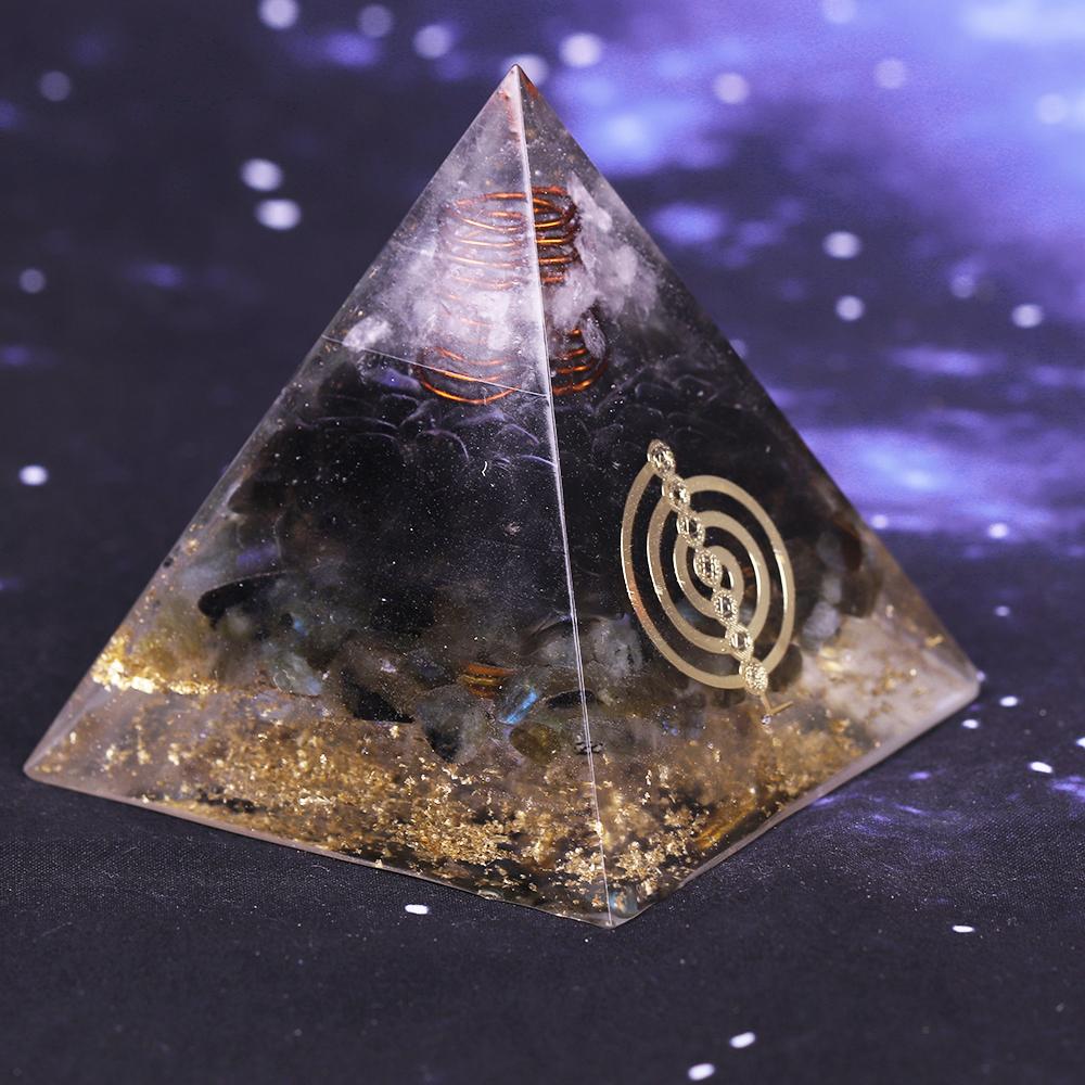 Black Orgonite Pyramid Muladhara Chakra Obsidian Natural
