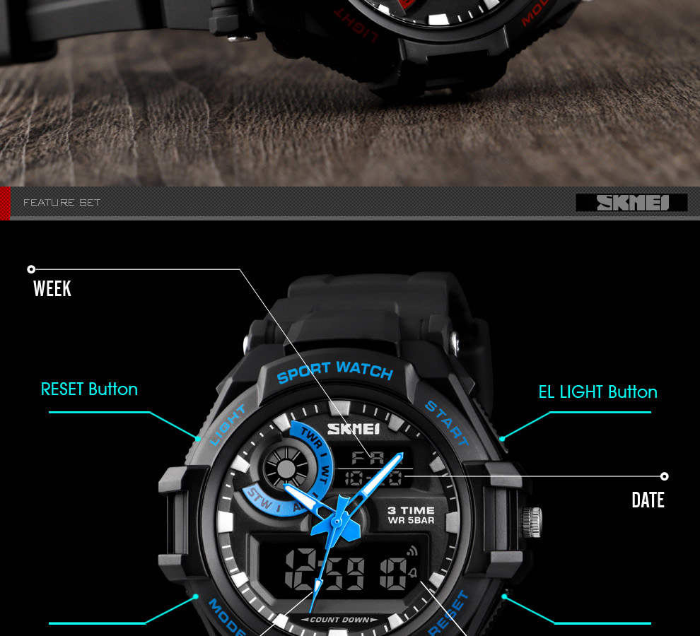 Dual Display Digital Military Analog Quartz Analog Sports