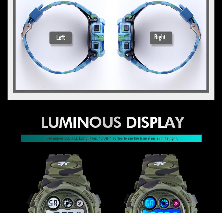 Camouflage LED Lights Energetic Children Sport 50M