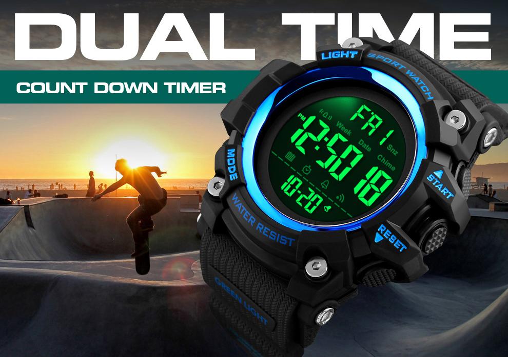 Men LED Digital 12/24 Hour Multifunctional 5Bar Waterproof