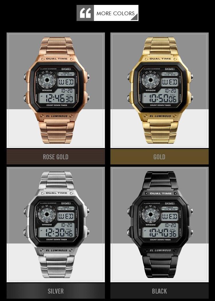 Men Digital Golden Stainless Steel Wristwatches