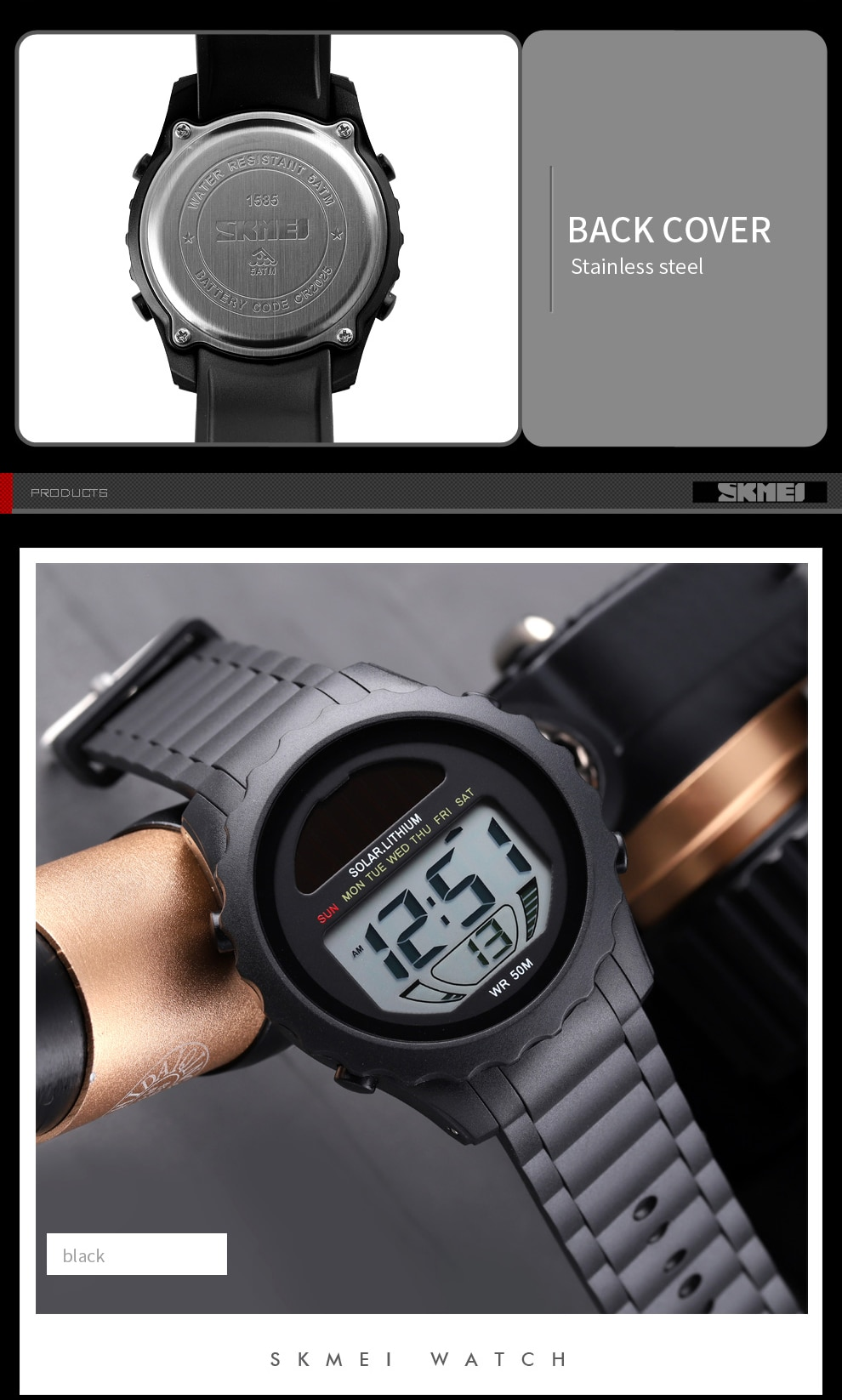 Solar Supply Digital Waterproof Wristwatches For Men