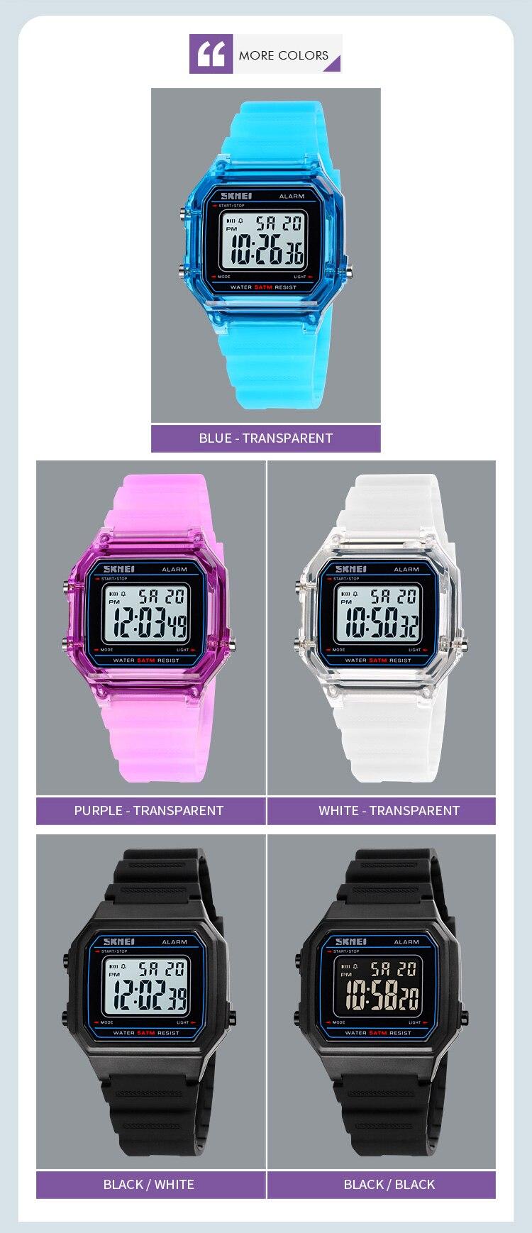 Unisex Transparent Sport Digital Casual Wristwatches