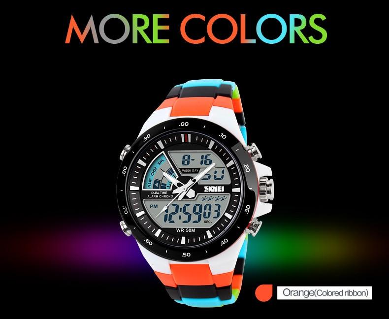 Men Sport Watch Dual Display Quartz 5Bar Waterproof Watches