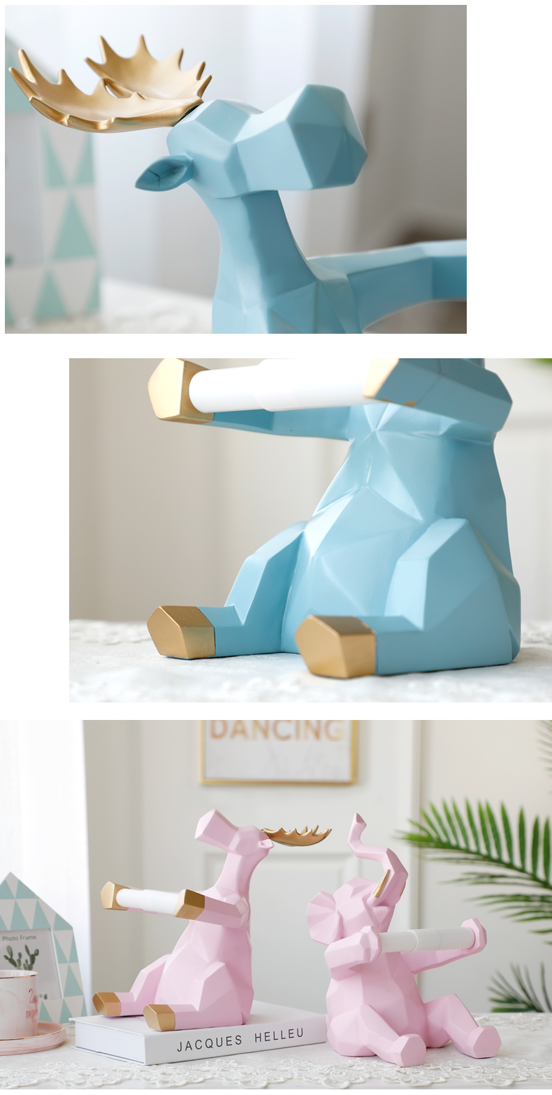 Animal statue Craft roll paper holder Table living room