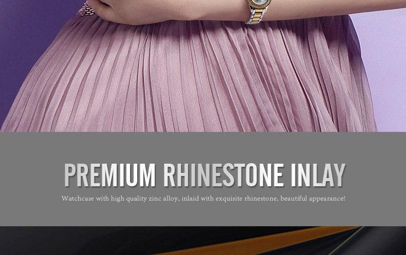 Luxury Rhinestone Stainless Steel Band Quartz Waterproof