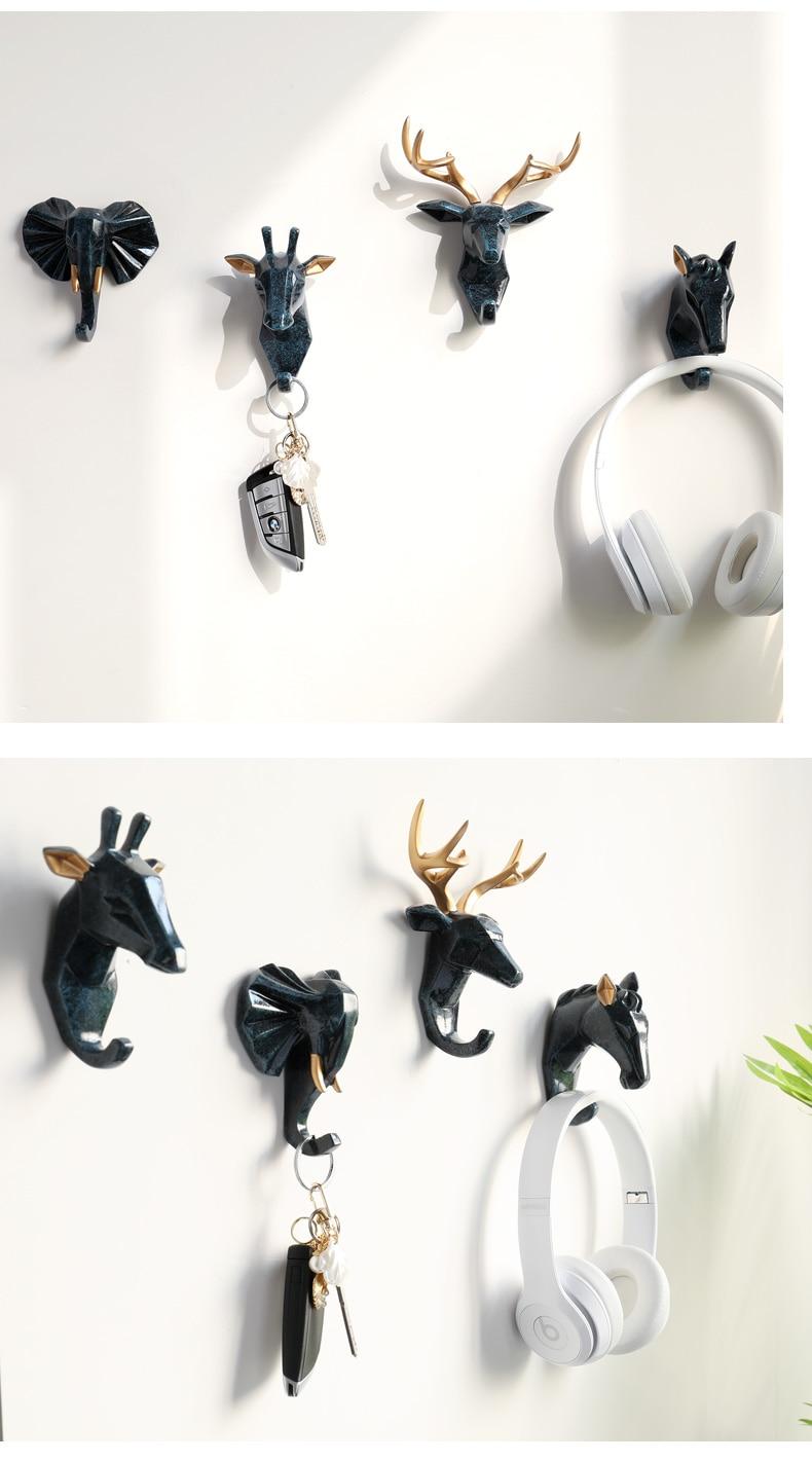 Resin Animals Head Sticker Hook Wall decorative clothes