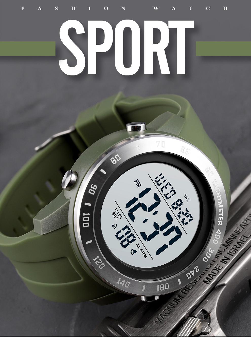 Silicone Sport Big Dial Digital Waterproof LED Men's