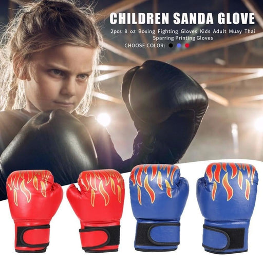 1 pair Kids Children Boxing Gloves Professional Flame Mesh Breathable PU Leather Flame Gloves Sanda Boxing Training Glove Newst