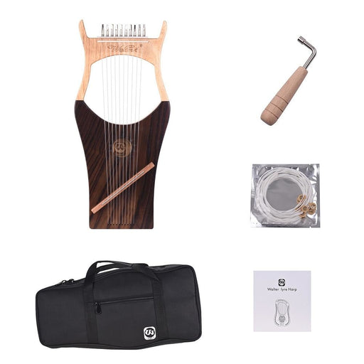 WH01 10-String Wooden Lyre Harp Nylon Strings Rosewood Topboard Rubber Wood Backboard String Instrument with Carry Bag