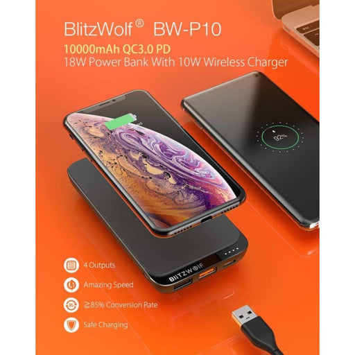 10000mah Qc3.0 Pd18w Power Bank 10w Wireless Charger with 4