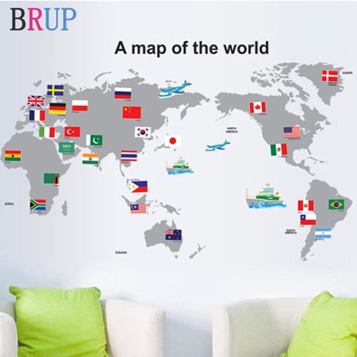 100x60cm National Flag World Map Wall Stickers Creative Map