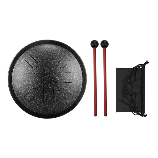 10Inch Portable Steel Tongue Drum 8 Notes Handpan Drum Travel Drum Percussion Instrument with Mallets Carry Bag for Yoga Zazen