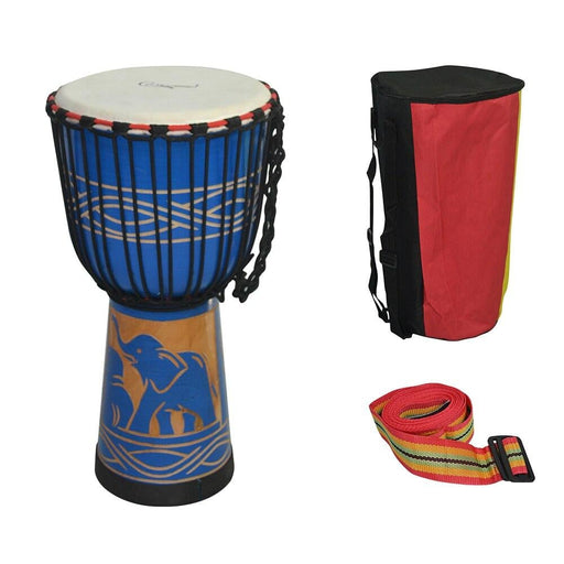 10inch Wooden African Drum Djembe Hand Drum Percussion Musical Instrument Mahogany Material with Blue Elephant Pattern
