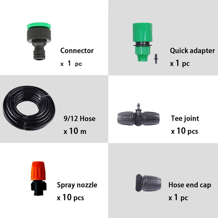10m 9/12 Hose Automatic Mist Watering Kits with Adjustable