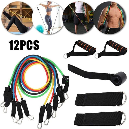 11/12Pcs/set Resistance Band TPE Elastic Pull Rope Home Gym Fitness Workout Sports Body Building Equipment Tool for Office Staff