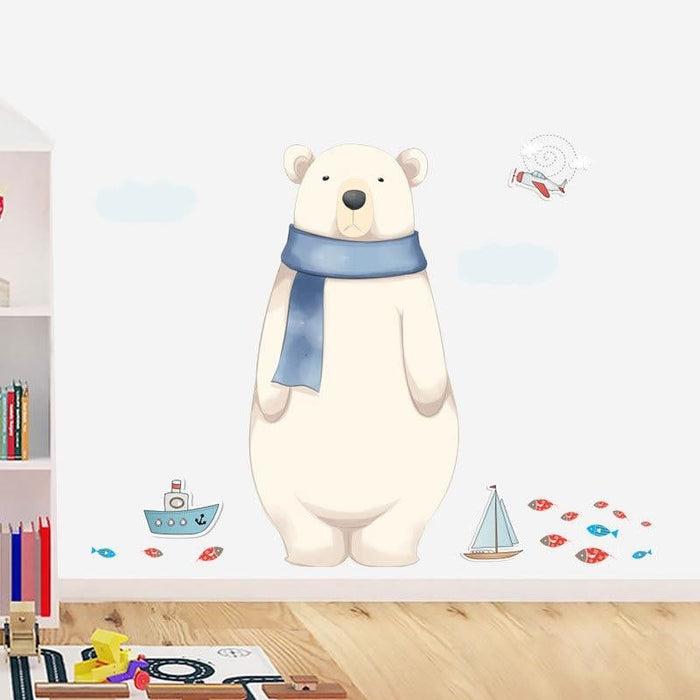 115*87.5cm Cartoon Friendly Polar Bear Wall Stickers Animals