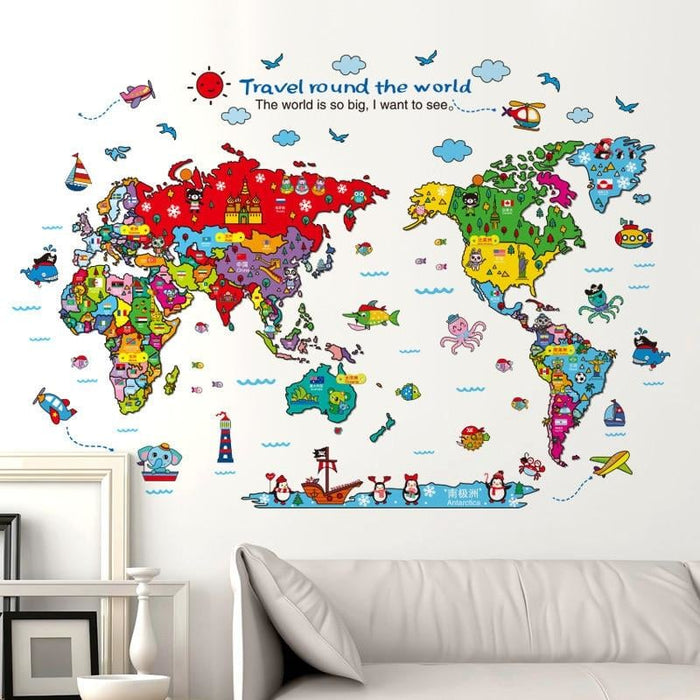 118x83cm Animal World Map Wall Stickers Travel Round The