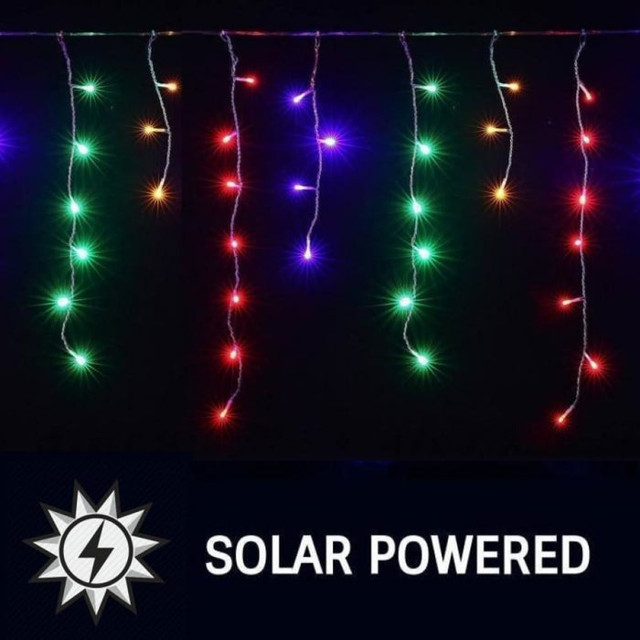 1200 Led Solar Powered Icicle Lights Multicolour 8 Modes