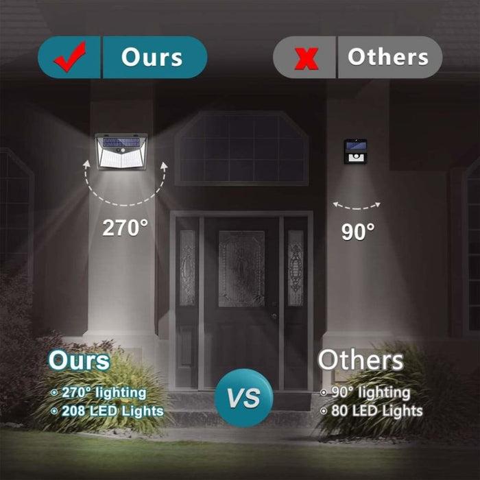 1/2/4X 208 LED Solar Power PIR Motion Sensor Wall Light Outdoor Garden Lamp Waterproof