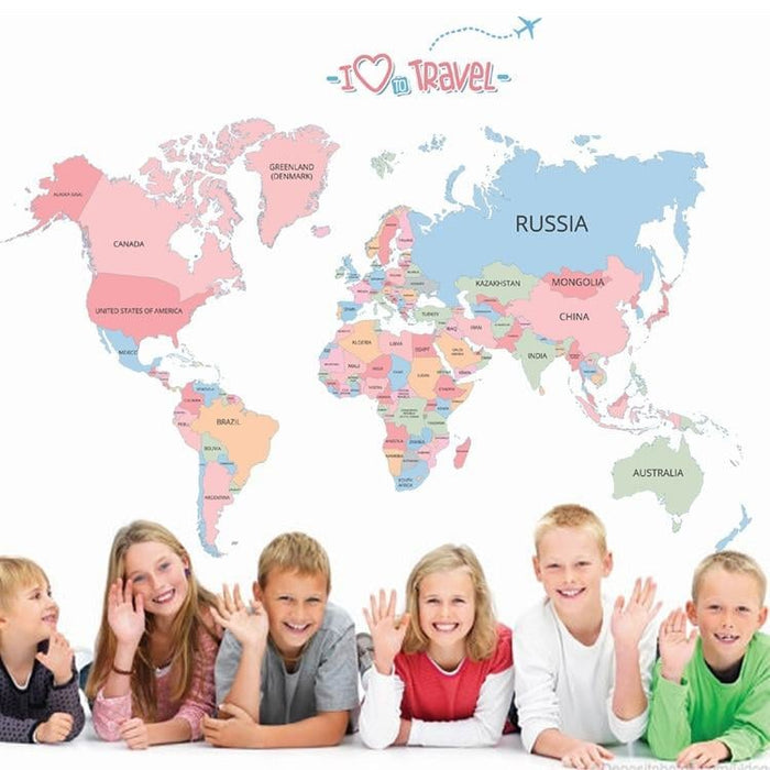 130*90cm Large Colorful World Map Wall Stickers Map Wall