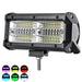 144W 7 Inch RGB LED Work Light Bar Driving Fog Lamp 10-32V For 4WD SUV Truck UTE Offroad ATV