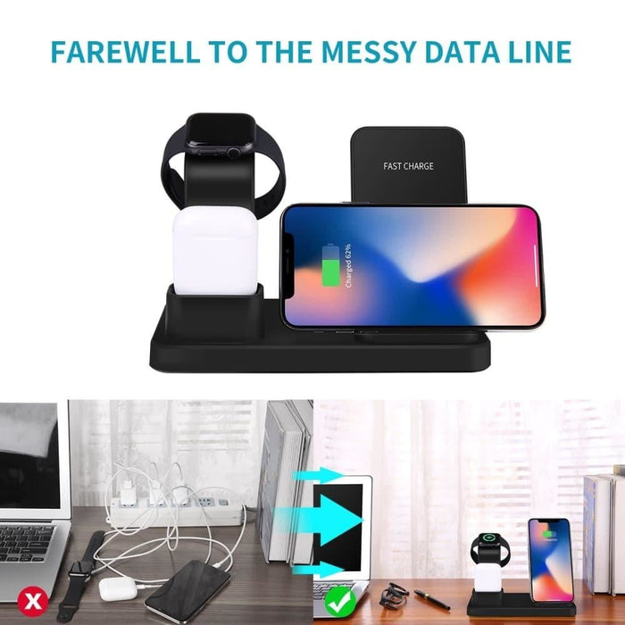 15W 3 in 1 Wireless Charger Stand for iPhone 11Pro X XS XR MAX Wireless Fast Charging Pad For Apple Watch 5 4 for Samsung S10