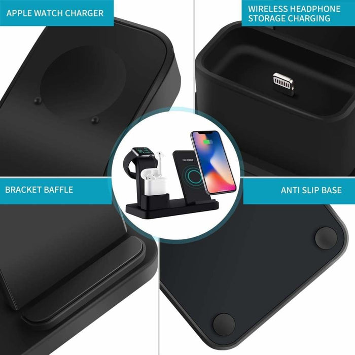 15w 3 in 1 Fast Wireless Charger Stand - 410204