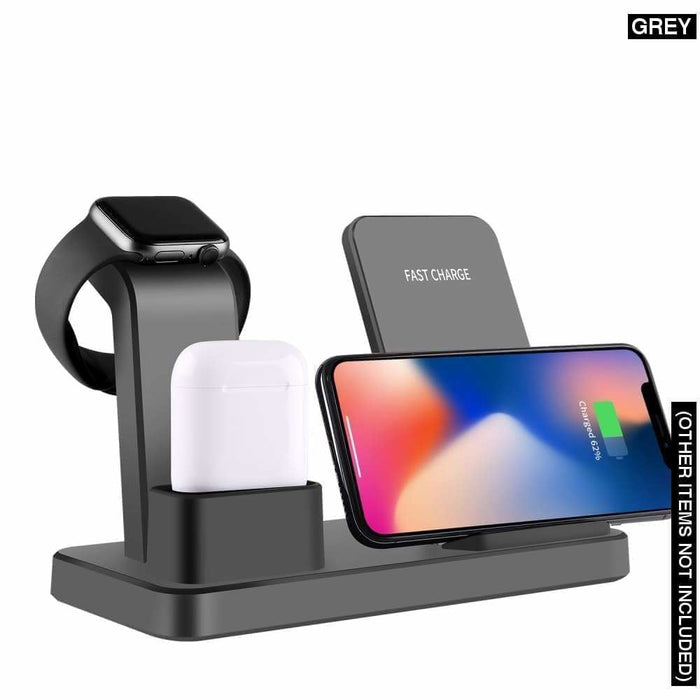 15w 3 in 1 Fast Wireless Charger Stand - Grey - 410204