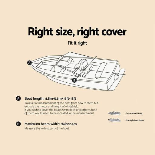 16 - 18.5 Foot Waterproof Boat Cover - Grey - Outdoor >