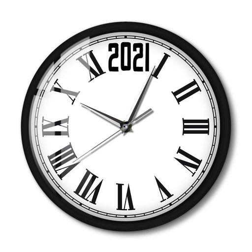 2021 New Year Wall Clock Home Decor Sound Activated Light Emitting Wall Clock Roman Numerals LED Lighting Metal Frame Wall Watch