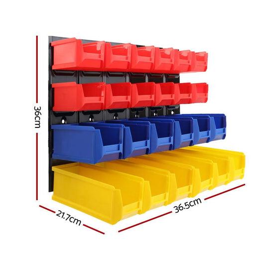 24 Bin Wall Mounted Rack Storage Tools Steel Board Organiser