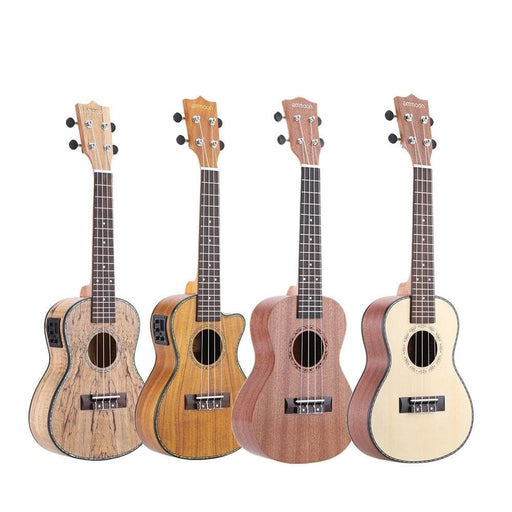 """ammoon 24"""" Deadwood(Rare Material)Ukulele  with LED EQ Cowry Shell Brims OX Bone Saddle 4 Strings Instrument Gift Present"""