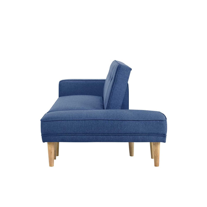 3 Seater Fabric Sofa Bed with Ottoman - Blue - Furniture >