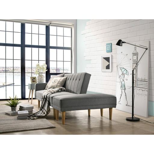 3 Seater Fabric Sofa Bed with Ottoman - Light Grey -