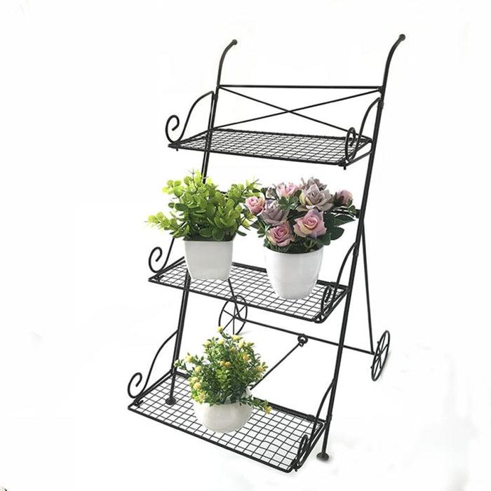 3 Tier Garden Cart Metal Shelf Stand Plant Flower Rack Storage Indoor Outdoor
