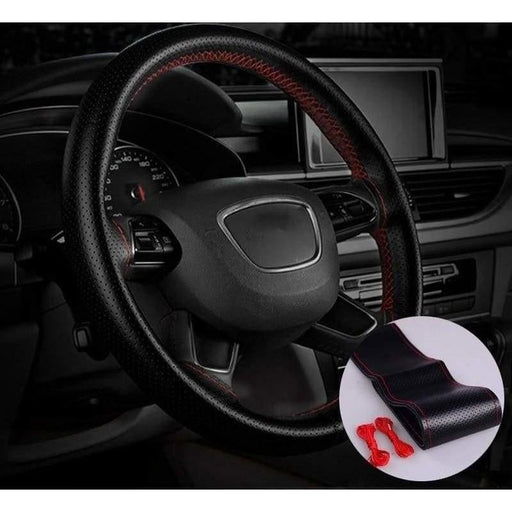 37/38cm Leather Covers Car Steering Wheel Cover Hand Sewing Braid On The Steering-wheel With Needle And Thread Auto Accessories