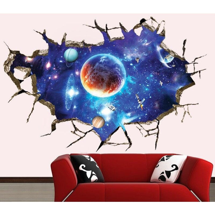 3d Blue Universe Galaxy Planet children wall stickers for