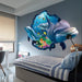PVC Dolphin Sea Scenes Window View Removable Wall Sticker 3D