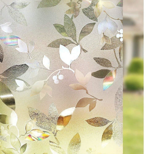 3D Laser Window Films Privacy Film Static Decorative Leaf Frosted Film Self-Adhesive Window Film Tinted Heat Control Anti UV