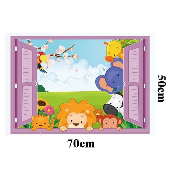 3D Window Zoo Wall Home Decor Sticker